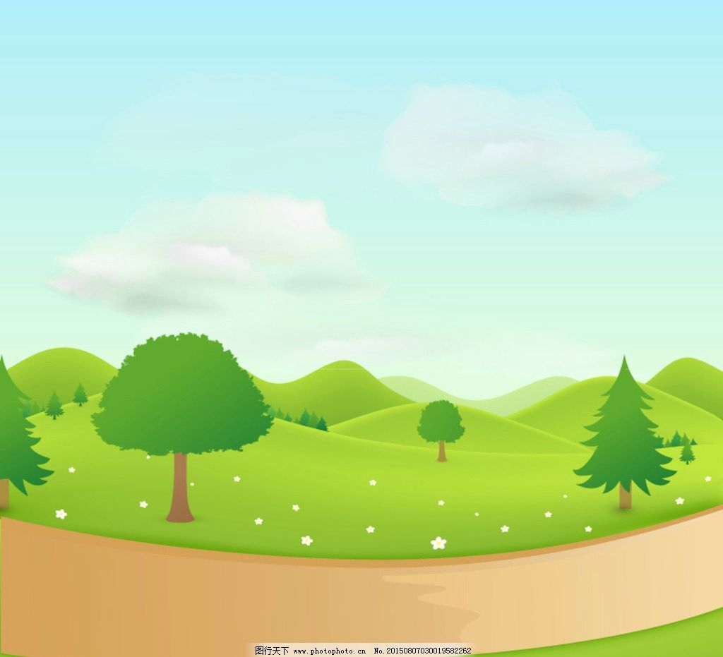 草地 绿色小树 蓝色天空 蓝天白云 动画场景设计 环境卡通 环境背景