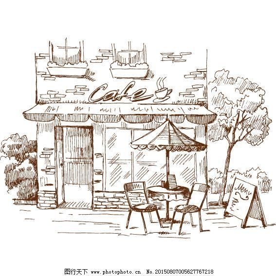 手绘 线稿 咖啡馆