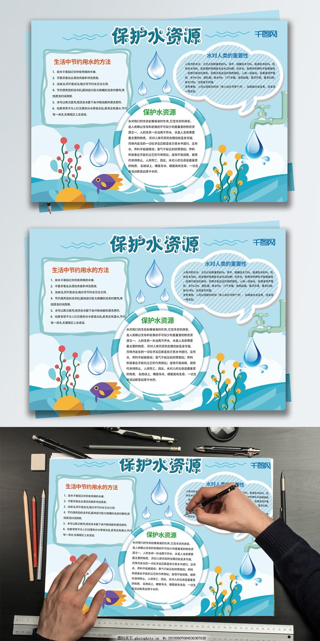 蓝色卡通保护水资源小报手抄报