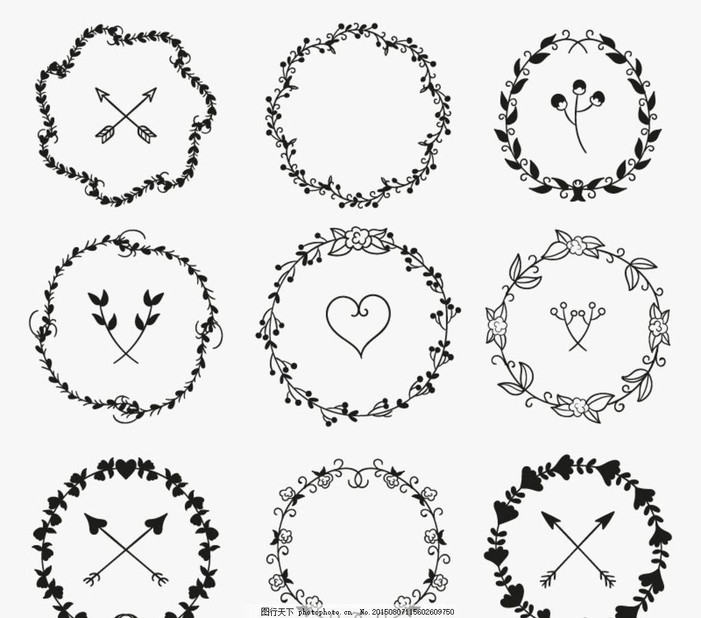 手绘树枝花环矢量素材 爱心 心型 心形 箭头 树叶 叶子 花卉