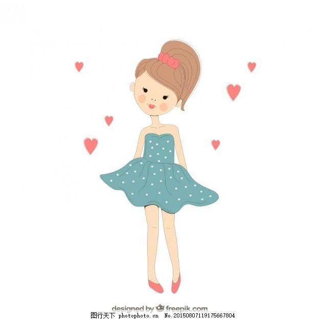 手绘可爱女孩 一方面 手绘的 可爱的 画画 娃娃 手工绘图 绘制的 可爱