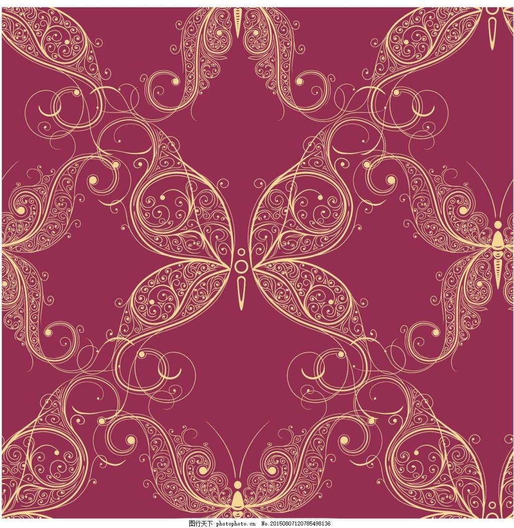 蝴蝶底纹背景 蝴蝶花纹 欧式 精致 红色