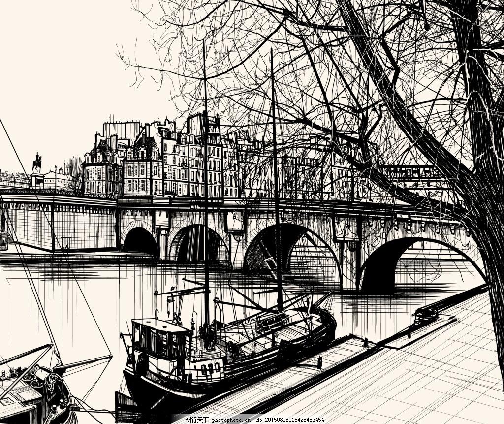手绘码头艺术插画 城市 帆船 黑白 桥 速写