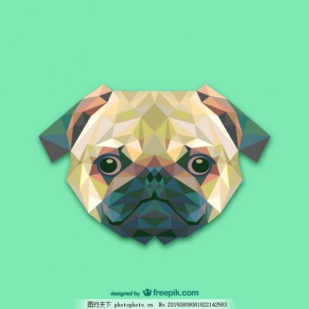三角形的狗设计 设计 几何 三角 狗 动物 创意 装饰 多边形 插图 三角