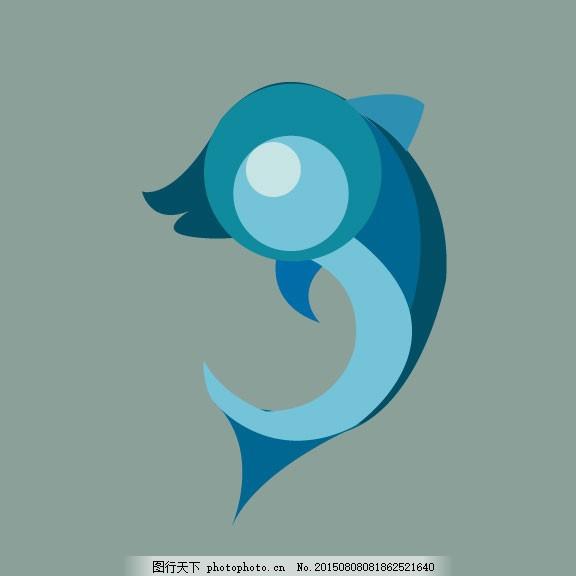 海豚 动物 图形创意 灰色