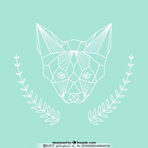 多边形的狐狸 几何 自然 动物 面 青色 天蓝色