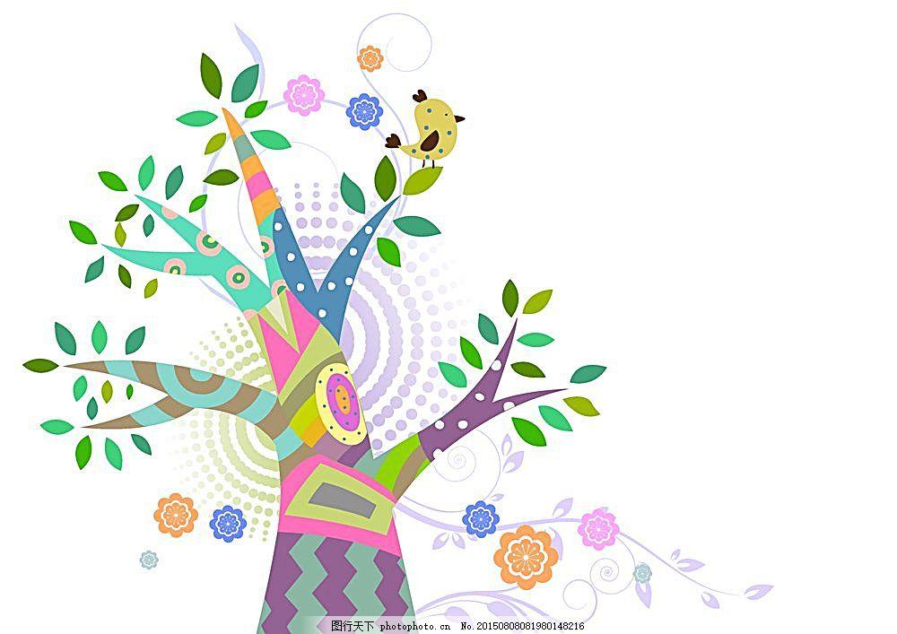 时尚花纹 底纹背景 底纹边框 矢量植物 卡通树 抽象树 花草树木 生物