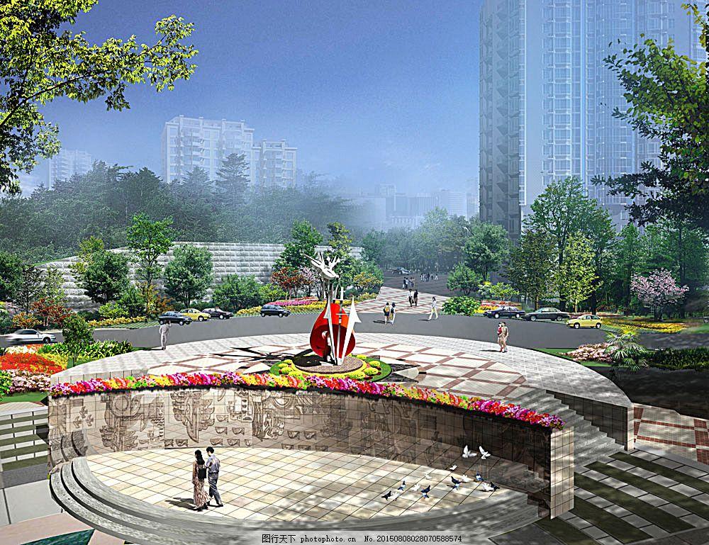 公共建筑 建筑外观 建筑设计 景观设计 3d效果图 公园景观 广场 透视