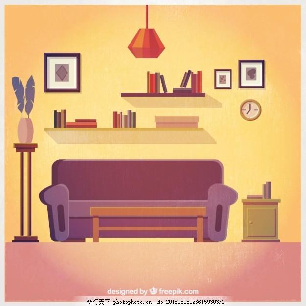 可爱的客厅内部 房子 家庭 可爱 房间 装饰 室内 插图      家庭内部