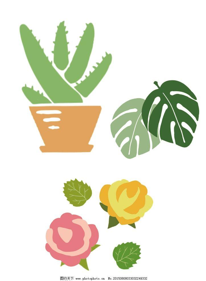 可爱手绘绿色植物矢量图图片