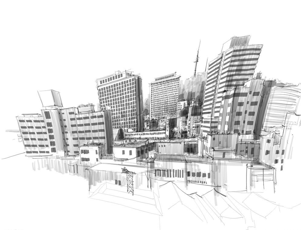 手绘建筑 城市 大楼 房地产 高楼 高楼大厦 环境设计 建筑背景