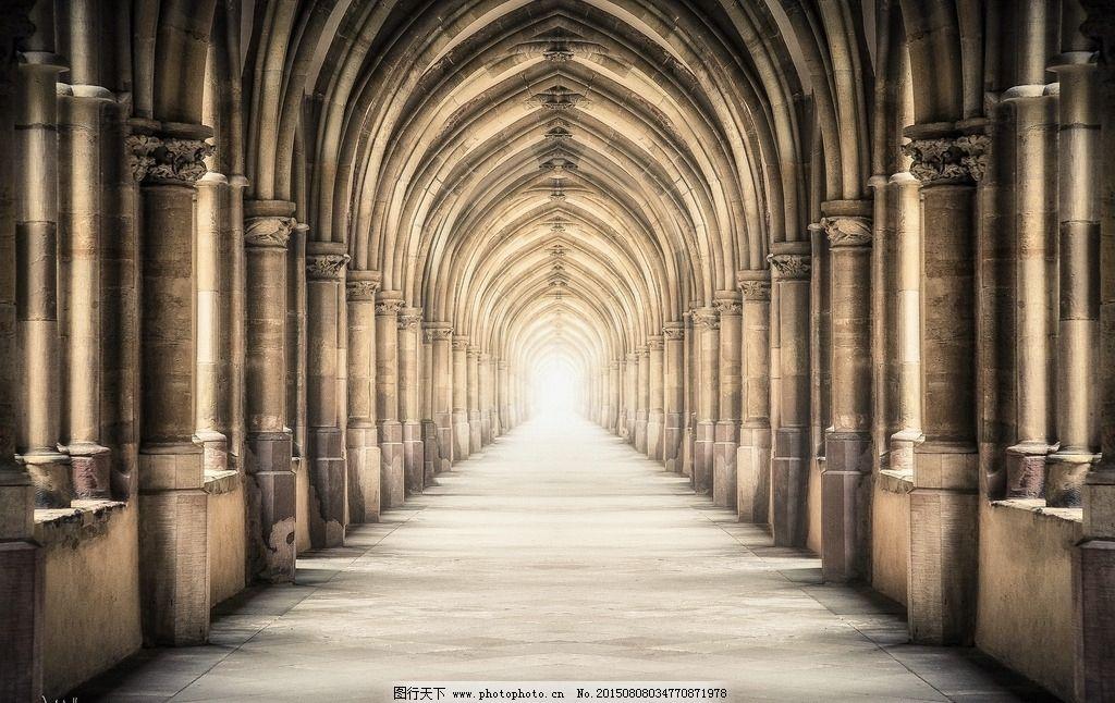 欧式建筑 走廊 传统建筑 哥特式建筑 礼堂 摄影 建筑景观