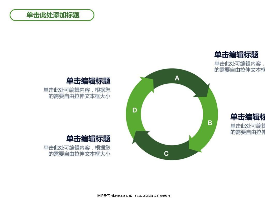 简洁圆环四项循环关系ppt模板