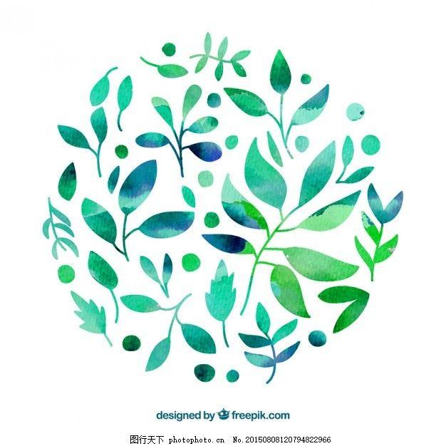 手绘水彩风格的叶子 水彩画 手 自然 绿色 叶 油漆 树叶 植物 风格