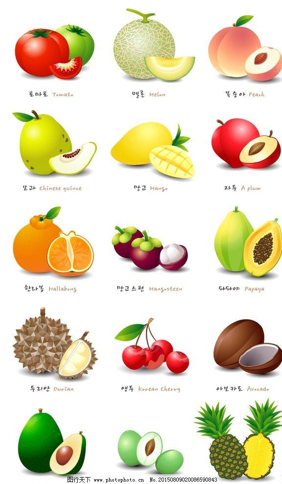 矢量彩色水果图标图片