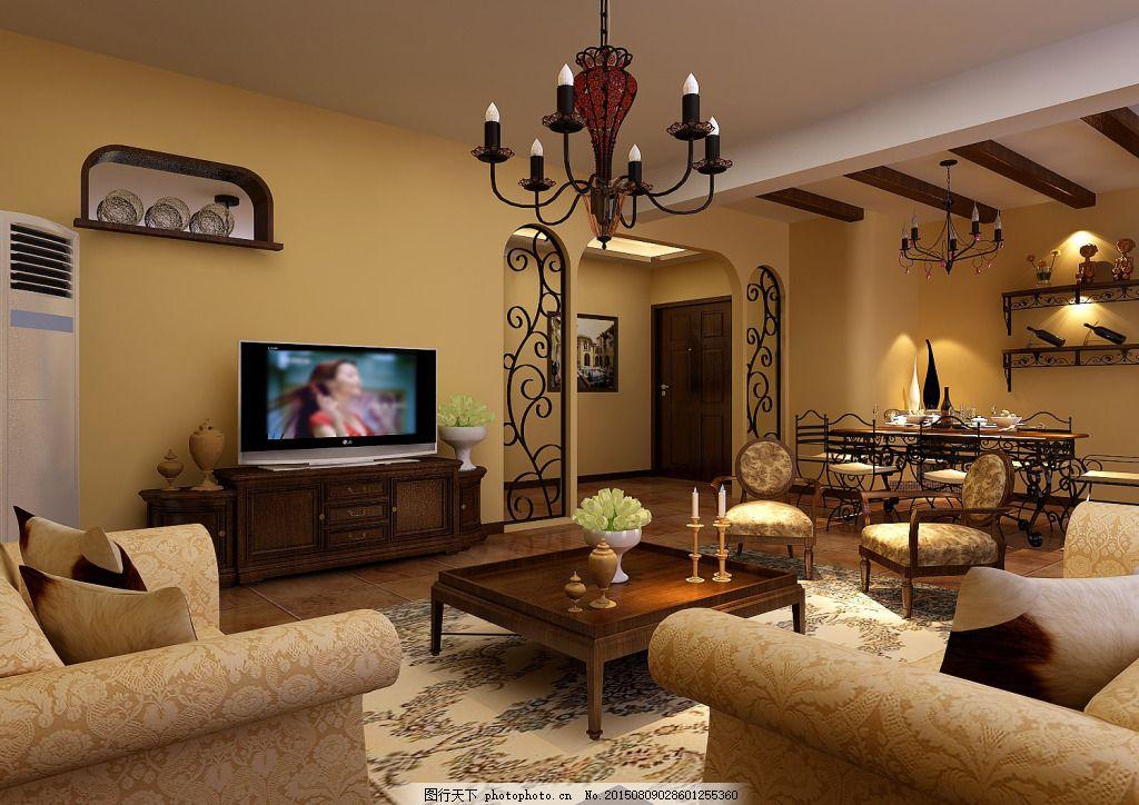 欧式创意客厅模型 3d模型 灯具模型 电视机 沙发茶几 max 黑色