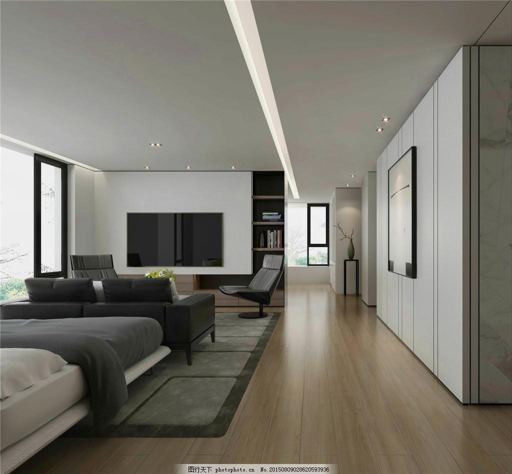 简约卧室灰色墙壁装修效果图 白色灯光 白色射灯 窗户 床铺 方形吊顶