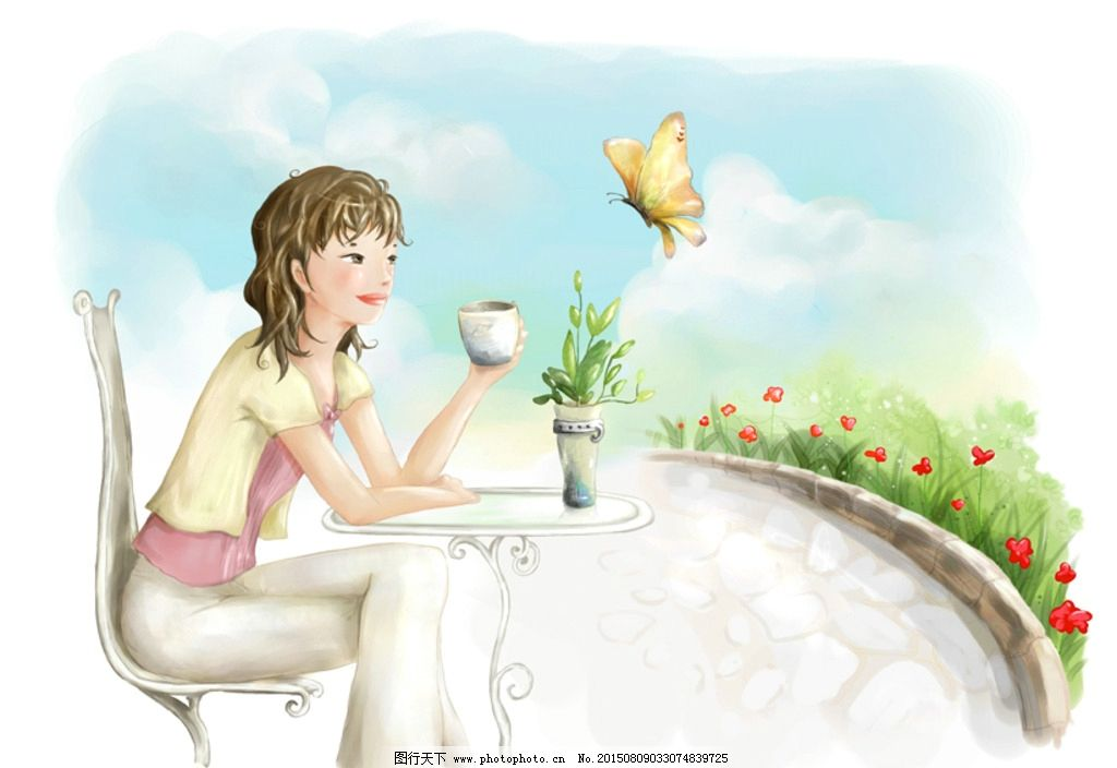 手绘水彩女孩 喝咖啡的女孩 咖啡杯 咖啡桌 桌子 椅子 蝴蝶 鲜花 花盆