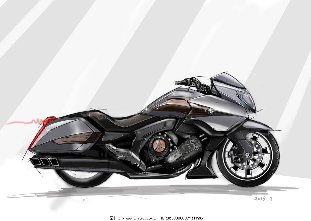 产品设计psd分层手绘摩托车图片