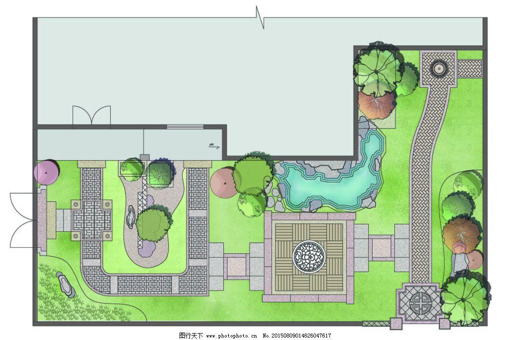 庭院免费下载 彩色 平面图 庭院 庭院 彩色 平面图 水系 原创设计