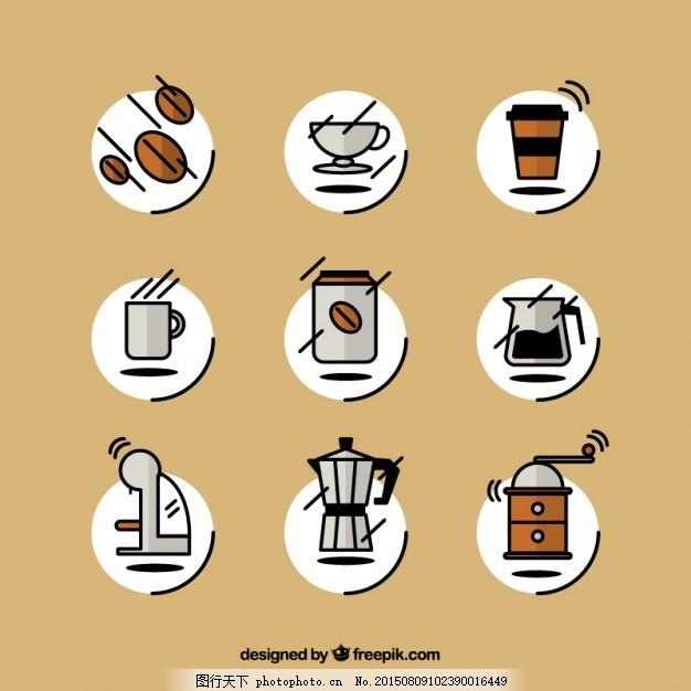 粗略的咖啡图标 咖啡 图标 手 手绘 咖啡杯 杯 绘图 马克杯 咖啡豆 壶