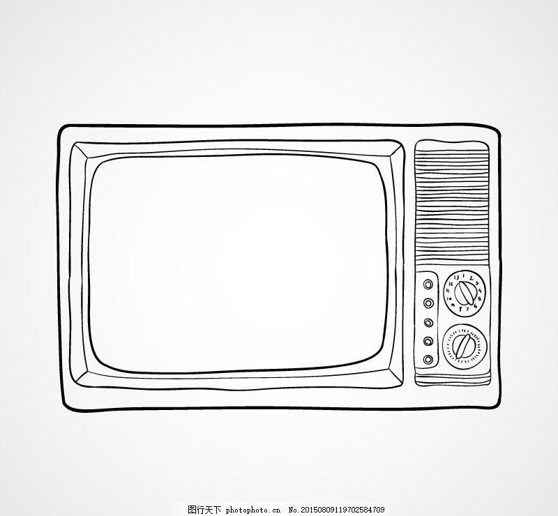 手绘老式电视机
