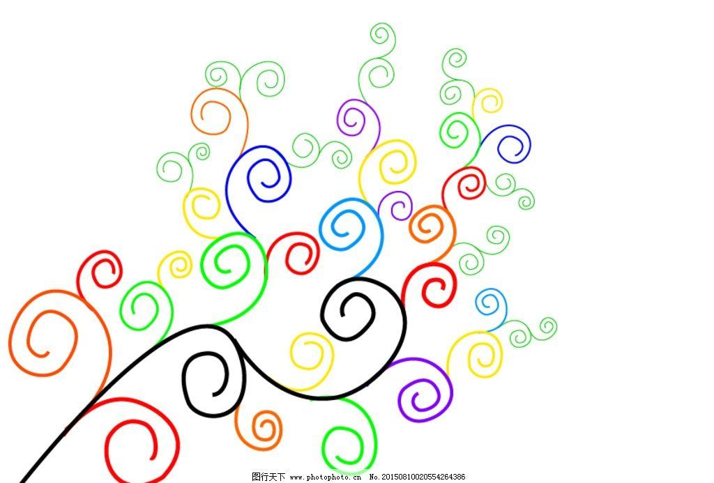 彩色 花纹 底纹 背景 树 临摹作品 设计 底纹边框 条纹线条  ai