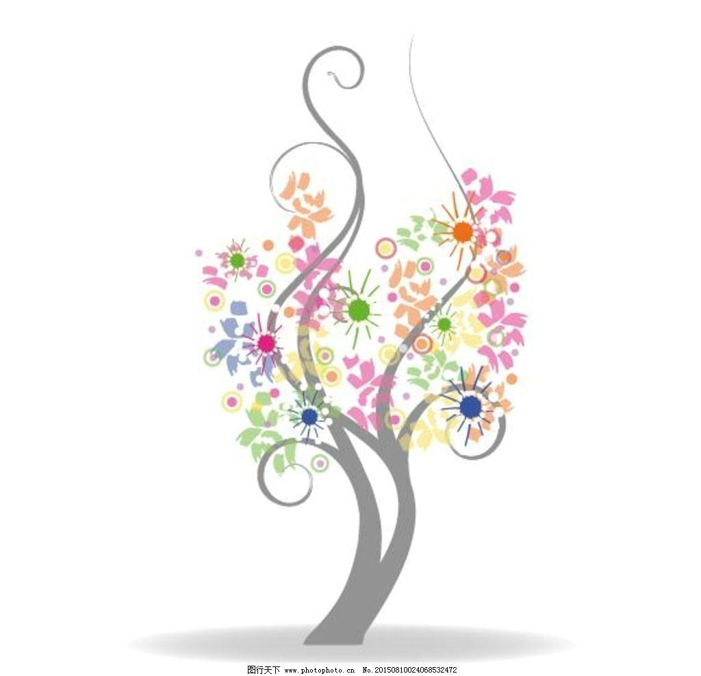 手绘开花的树图片