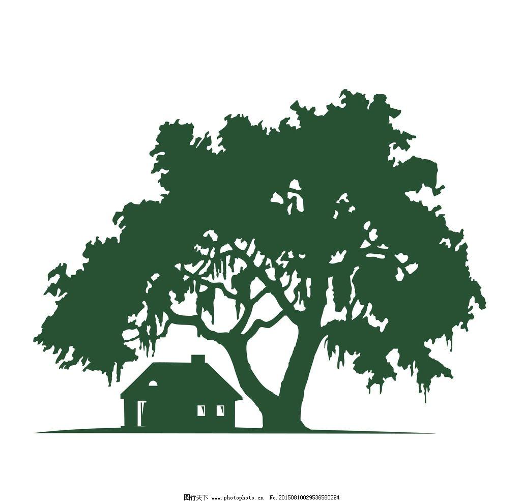 简笔画大树房子
