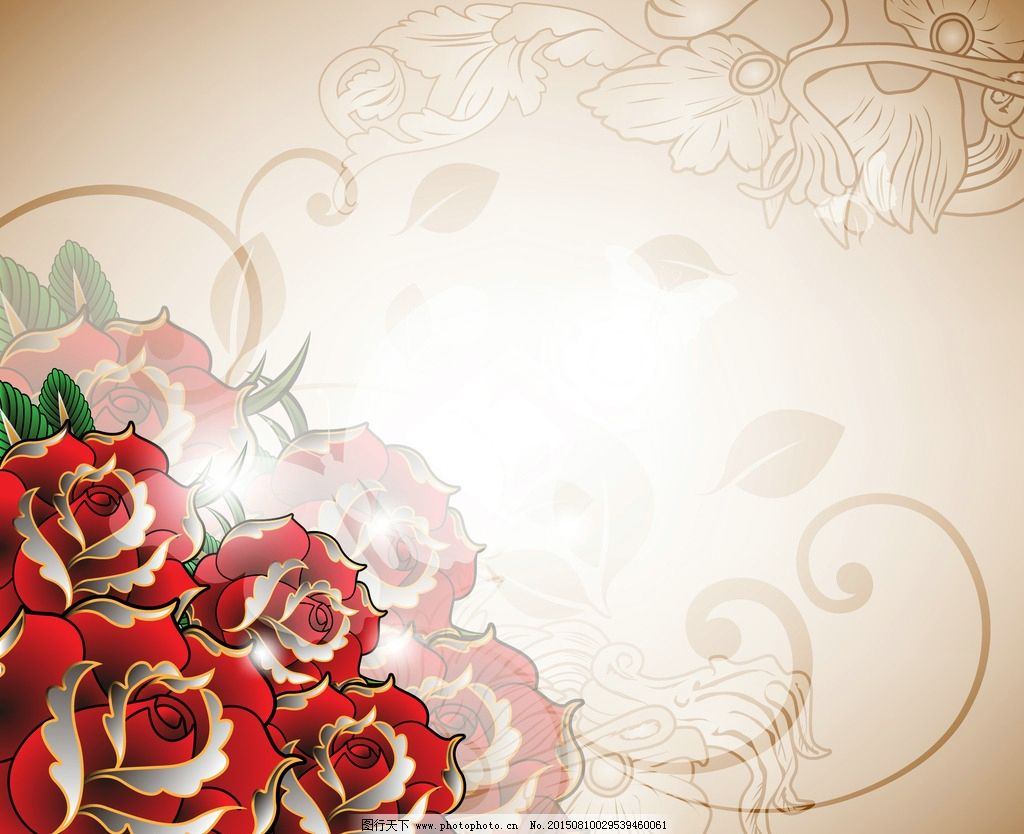 玫瑰花底纹背景图片_设计案例_广告设计_图行天下图库