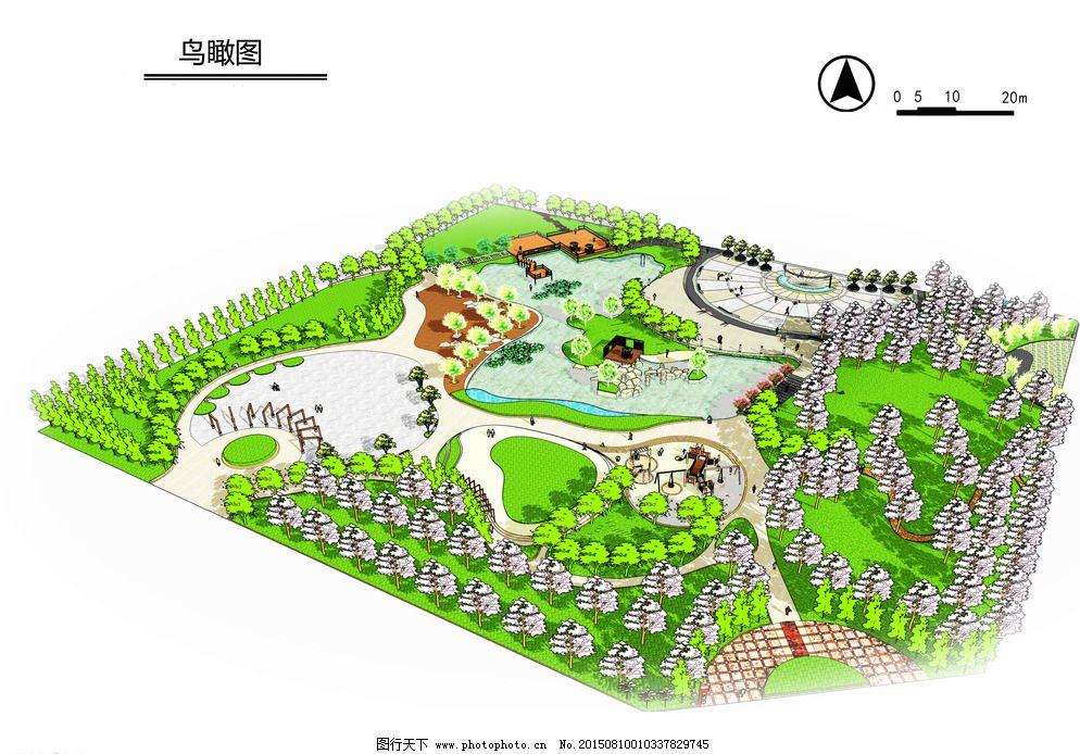 校园广场景观设计鸟瞰图图片