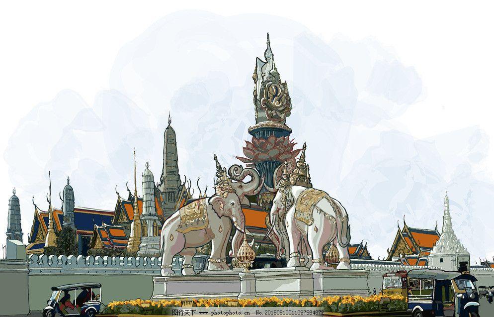 卡通 手绘城市 都市 城市 行人 泰国 曼谷 休闲 公路 繁华 卡通 手绘