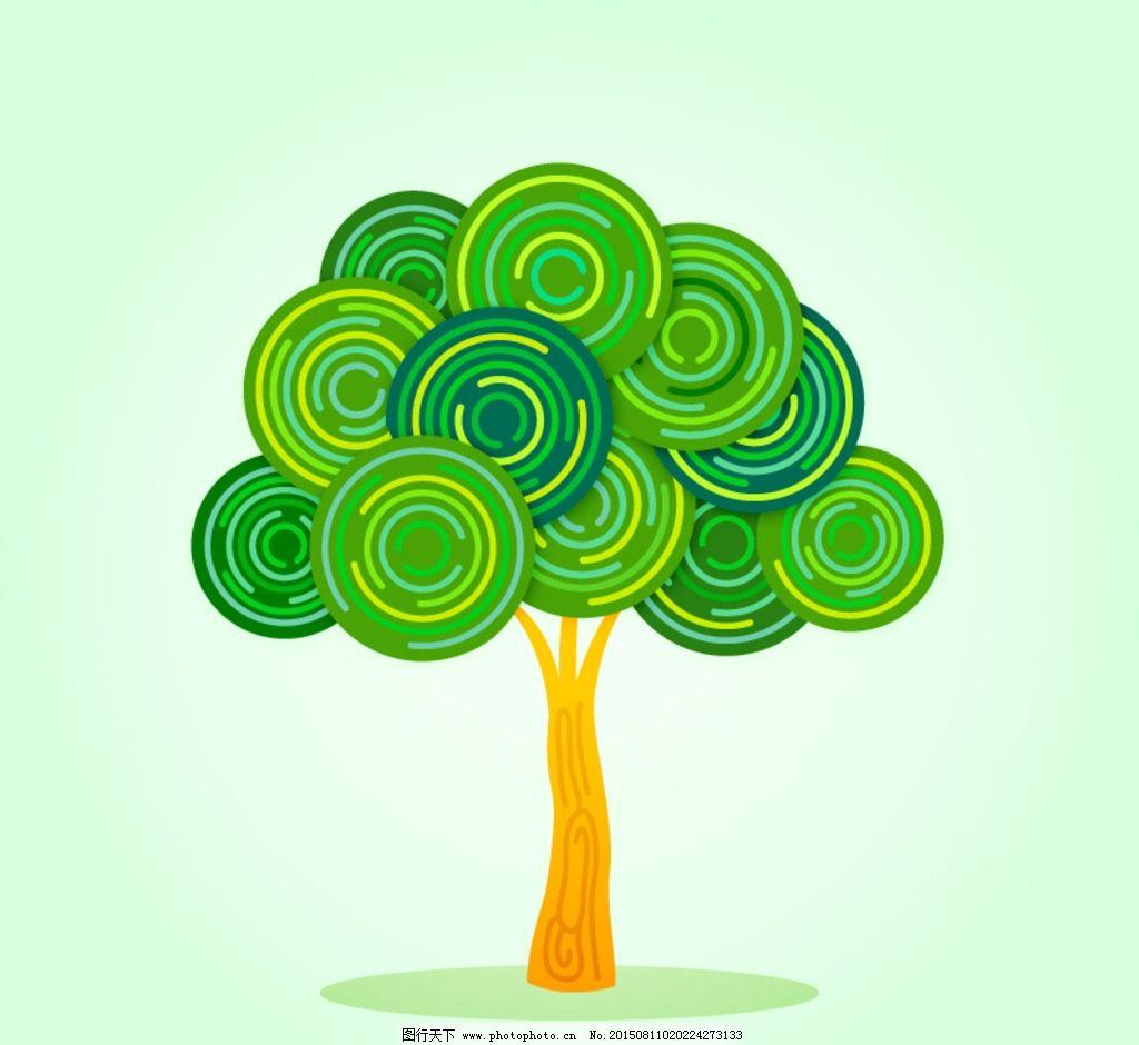 绿色花纹植物手绘