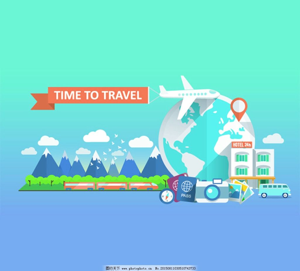 创意飞机旅游扁平化图标矢量素材图片