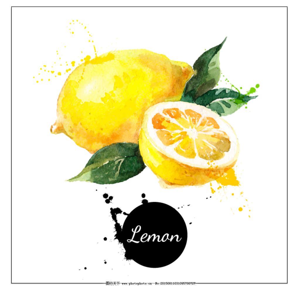 手绘水彩 柠檬背景 矢量图 免费下载 eps格式 柠檬 手绘 水果 设计 广