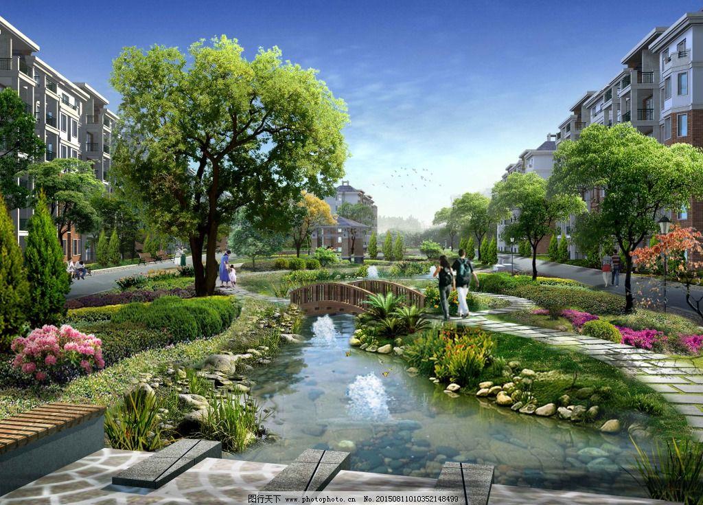 室外效果图psd 景观效果图 植物 家居装饰素材 园林景观设计