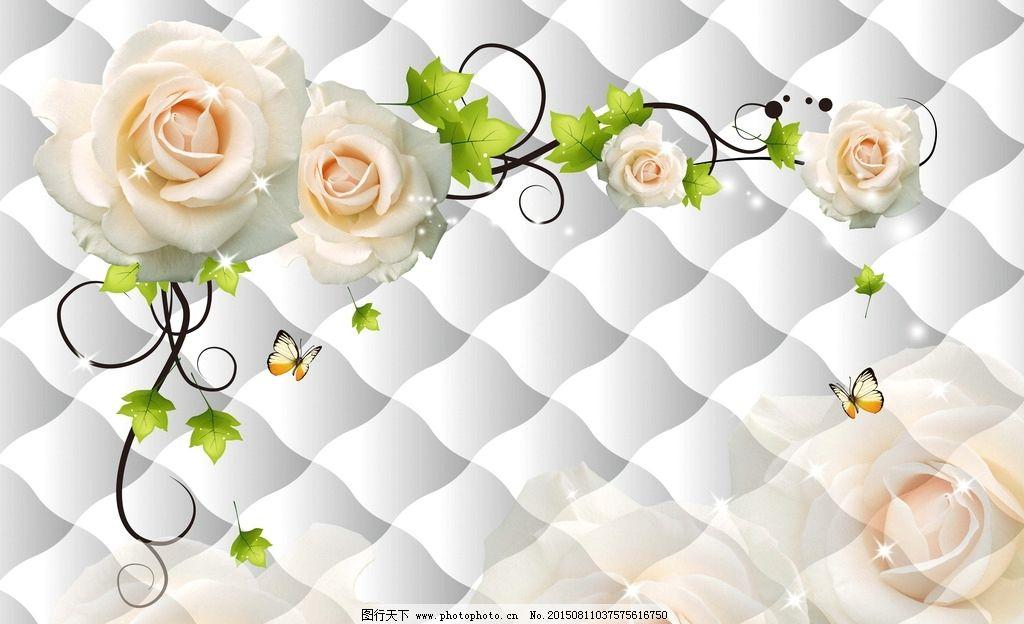 玫瑰软包背景墙 手绘背景 菱形软包 梦幻花藤 手绘玫瑰 高清分层