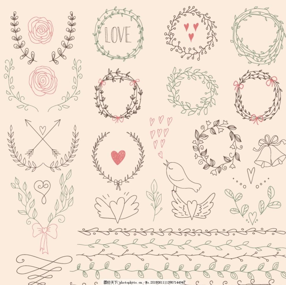 手绘花环与花边矢量素材 花卉 花朵 爱心 心型 心形 鸟 小鸟