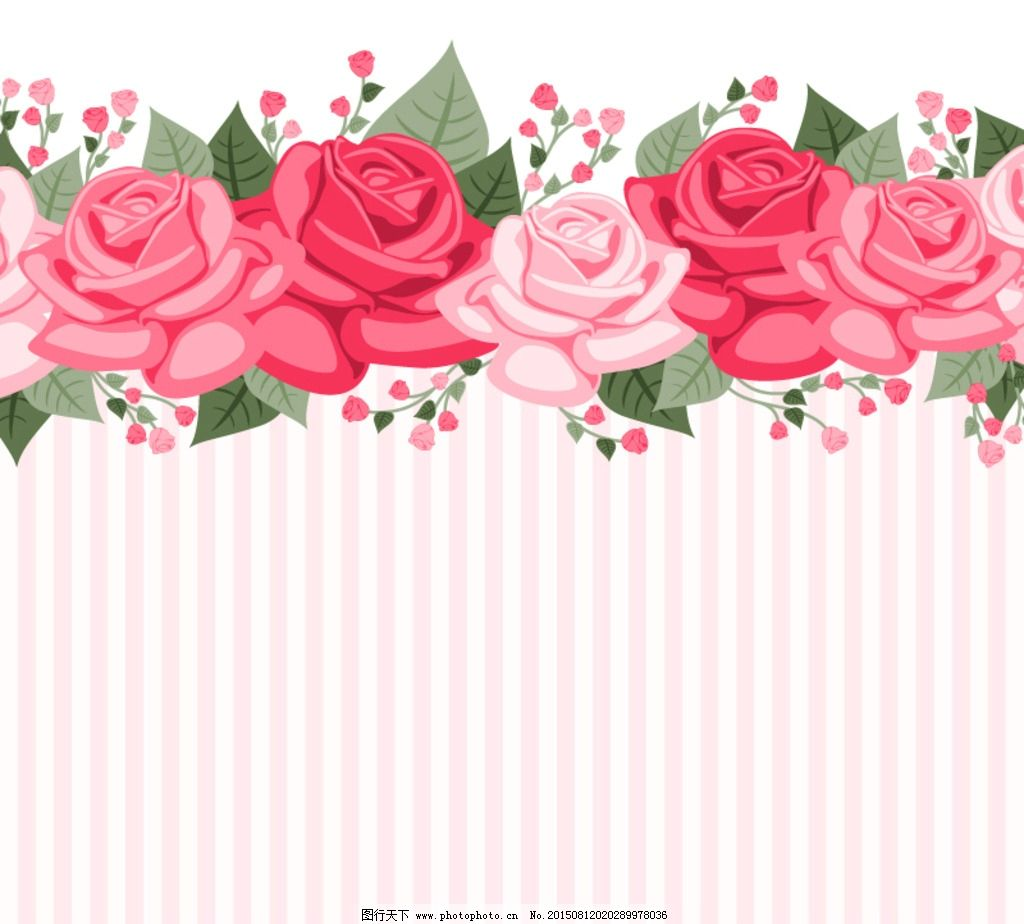 彩色玫瑰花条纹 背景图片
