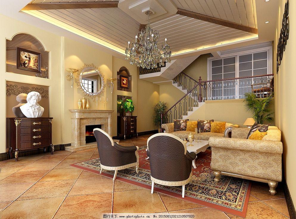 美式别墅 欧式客厅 大厅图片
