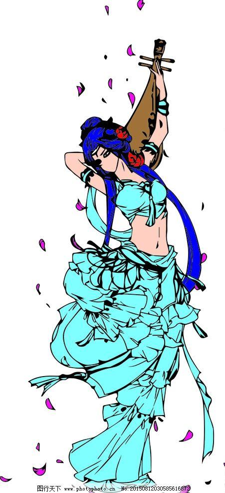 古代美女 犹抱琵琶 半遮面 矢量 矢量素材 卡通