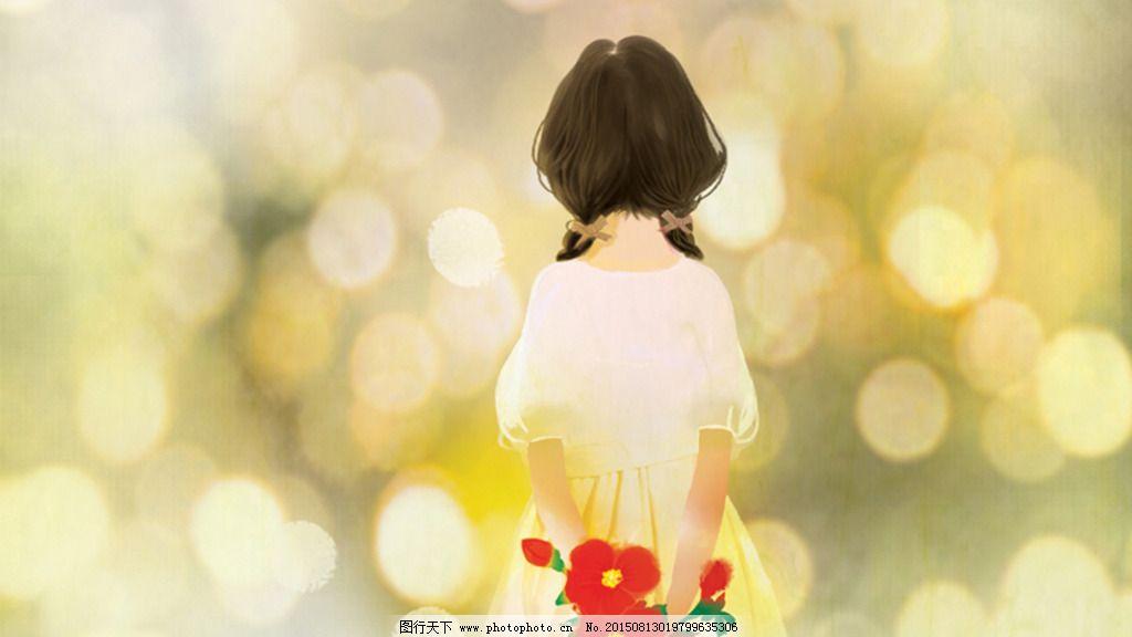 拿花的女孩免费下载 背影 插画 女孩 手绘女孩 唯美 鲜花 小清新 小