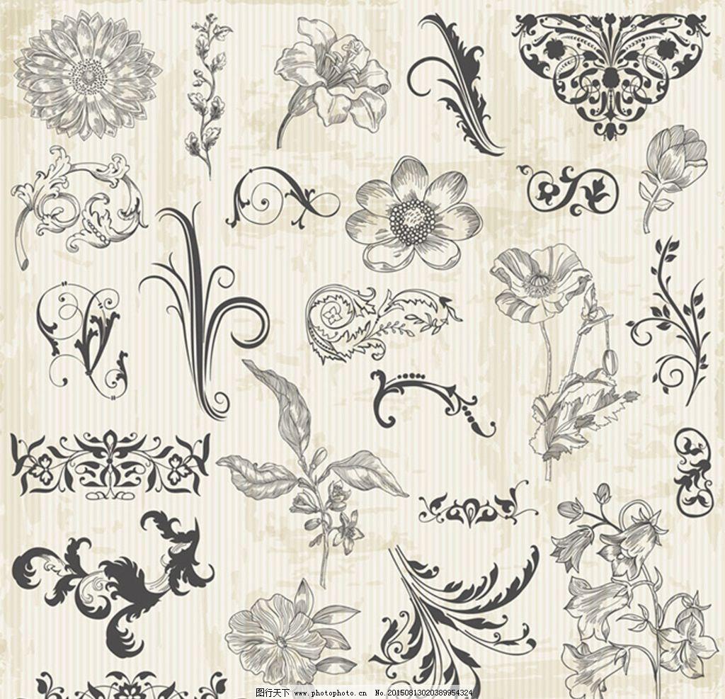 欧式 花纹 边框 花朵 边角 复古 设计 底纹边框 花边花纹 eps