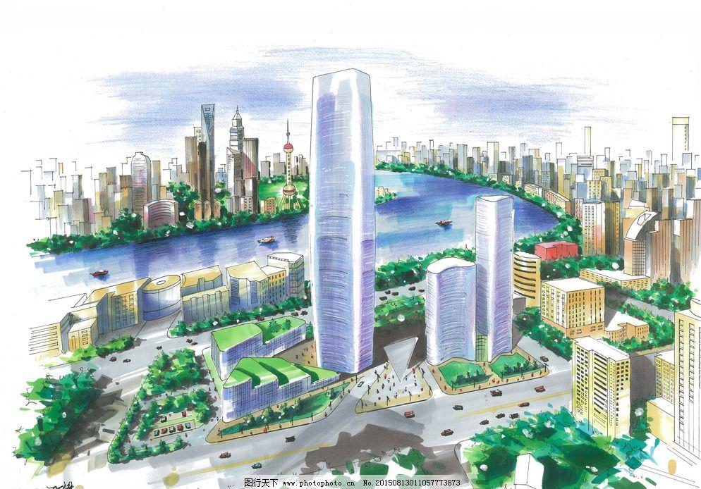 建筑手绘表现 建筑鸟瞰图 建筑设计 马克笔手绘 建筑马克笔 川大锦城