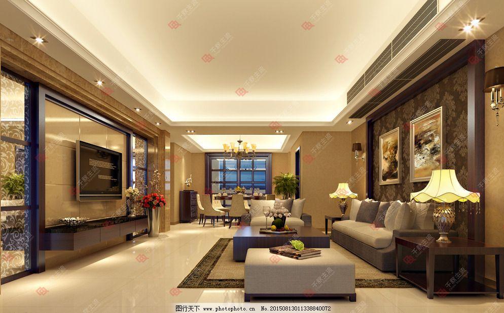 电视背景 电视背景墙 背景墙 墙纸 挂画 藏灯 沙发背景 现代欧式客厅
