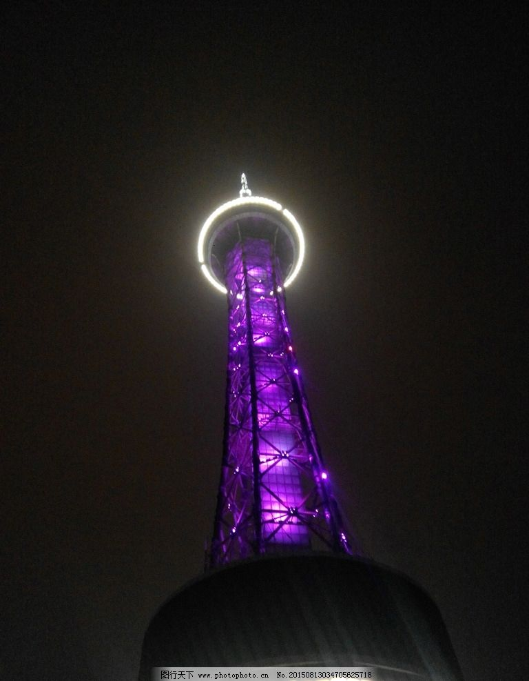 常州电视塔 夜景 紫色