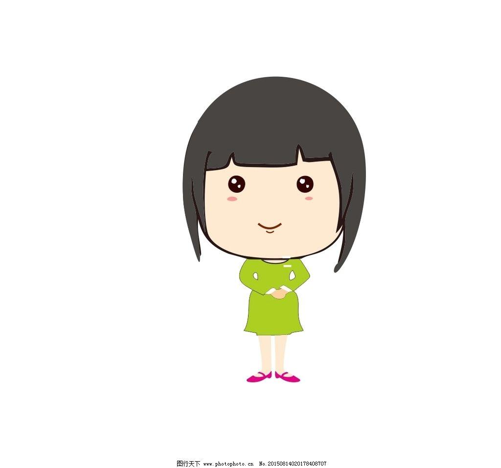 呆萌 可爱 q版 服务员 卡通 女孩 娃娃 原创图标 设计 广告设计 卡通