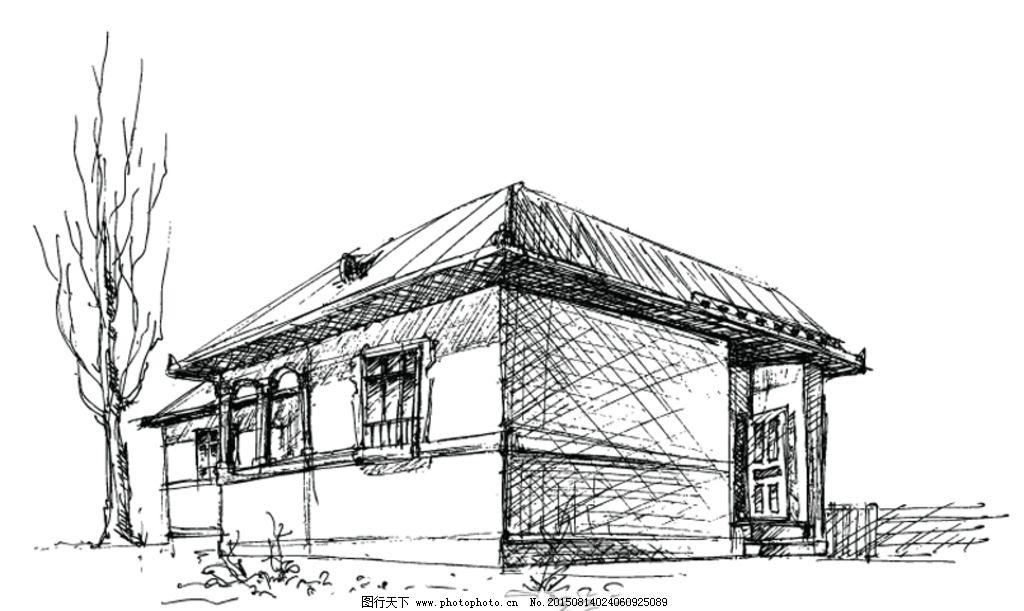 矢量手绘老房子线描风景图片