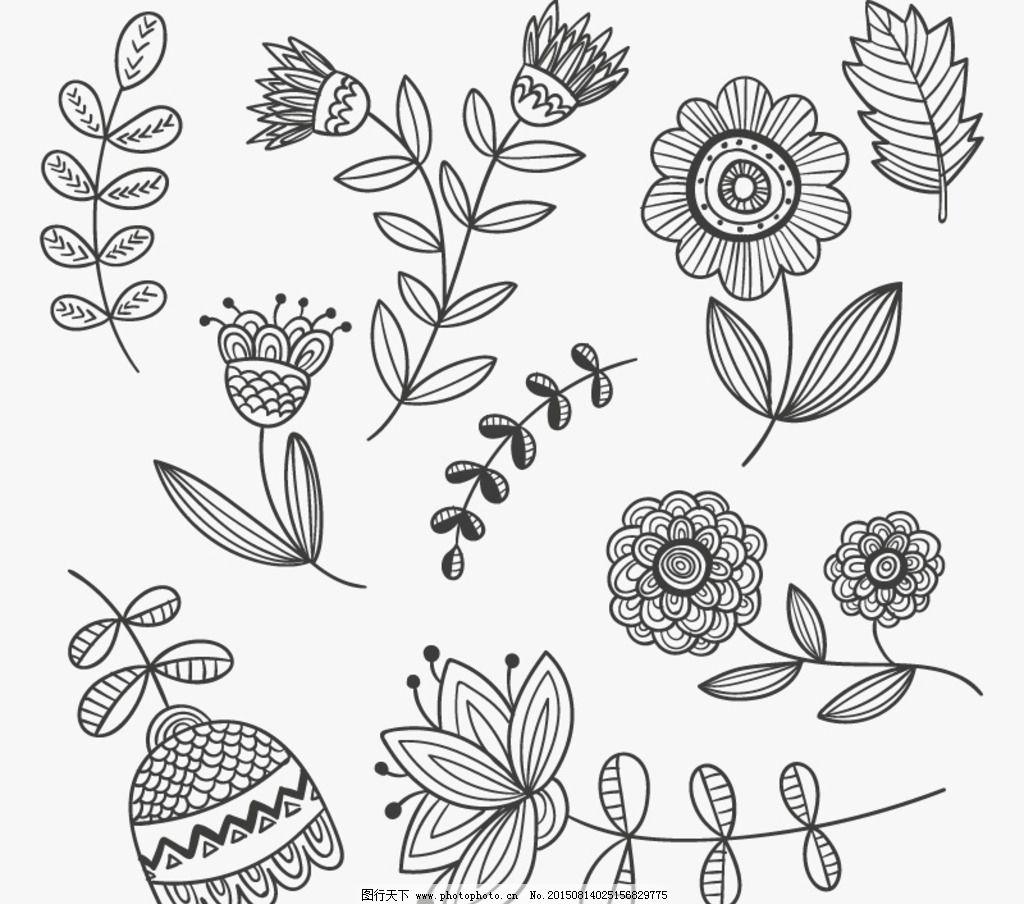 手绘花卉与叶子图片