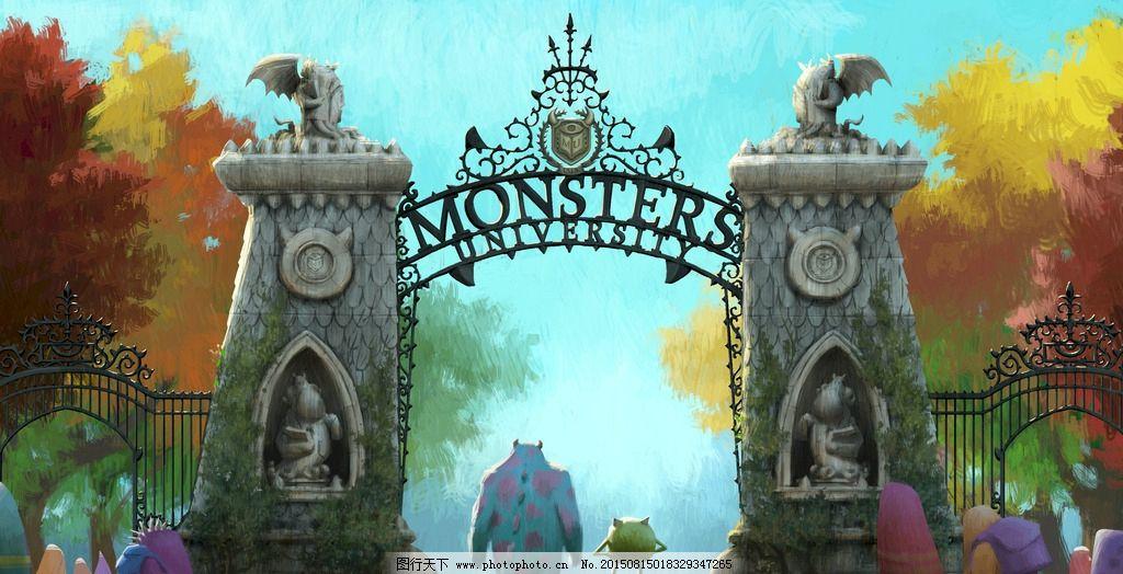 童话大门 电影海报 动漫角色 动画片 儿童 公仔 怪兽大学 手绘